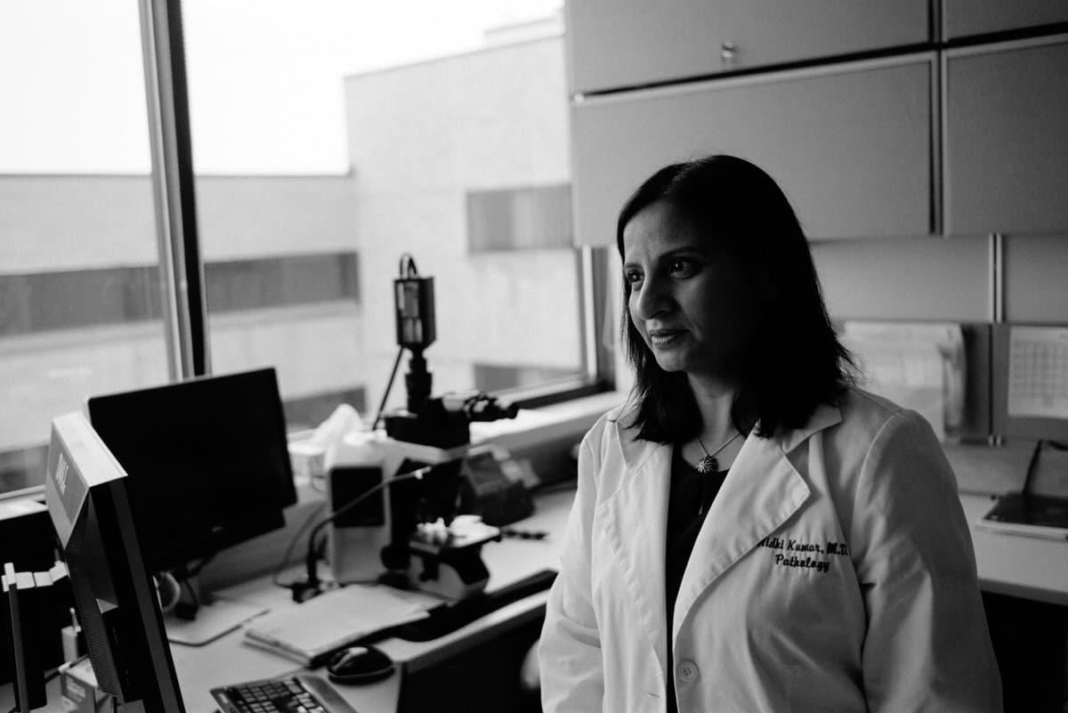 Illuminating-women_exhibition-black-and-white-fine-art-film-photography-of-Agnesian-Healthcare-pathologist-Nidhi-Kumar-by-Studio-L-photographer-Laura-Schneider-_002
