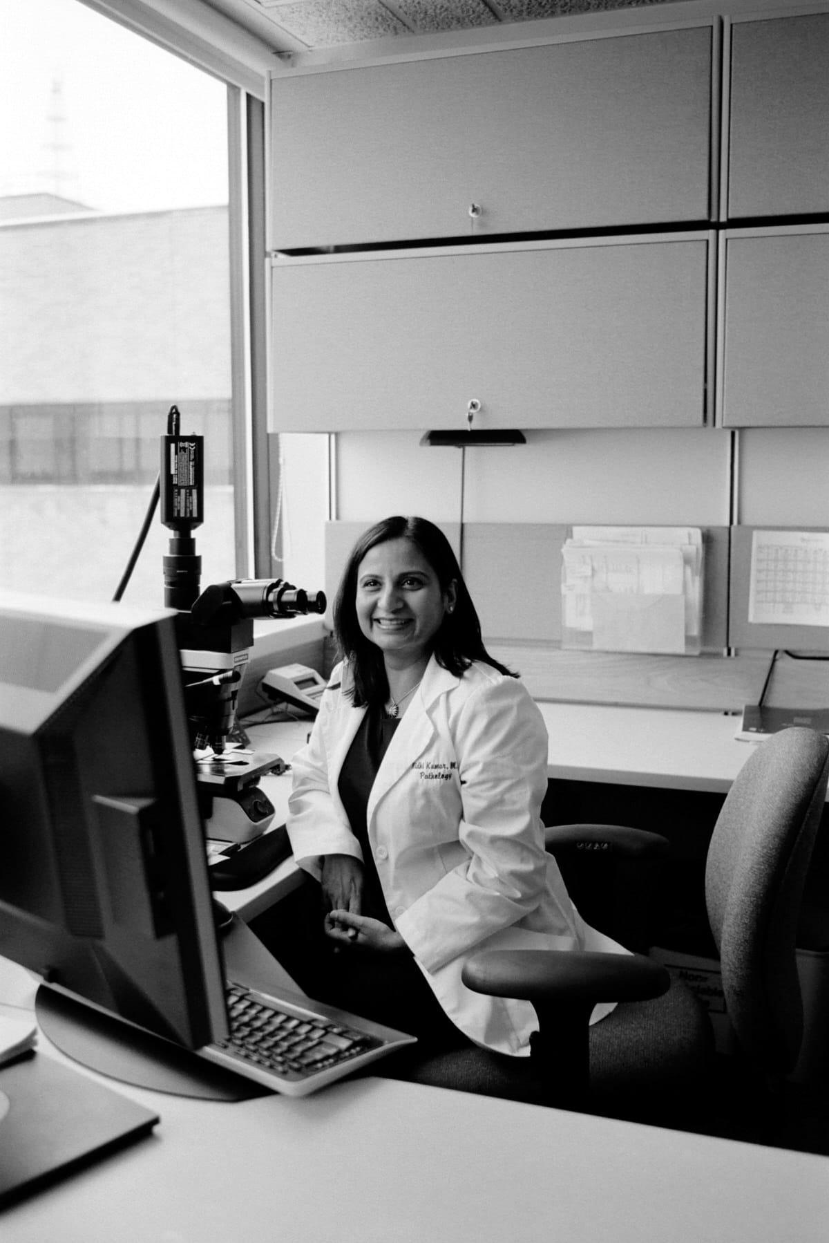Illuminating-women_exhibition-black-and-white-fine-art-film-photography-of-Agnesian-Healthcare-pathologist-Nidhi-Kumar-by-Studio-L-photographer-Laura-Schneider-_035